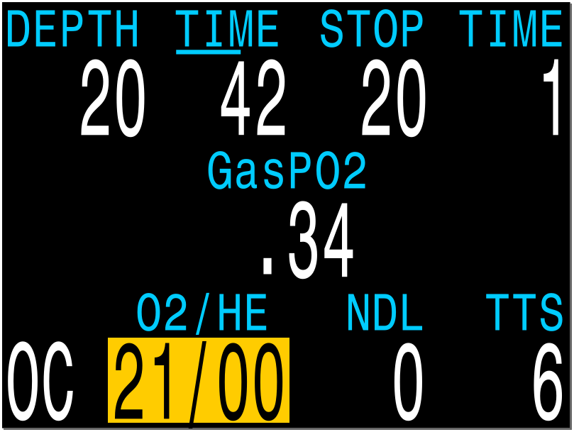 The gas display will turn yellow when a better gas is available. This is a reminder to either switch to that gas, or turn off that gas so that predictions will become accurate. Gases can be turned off during the dive in the Dive Setup->Define Gas menu.