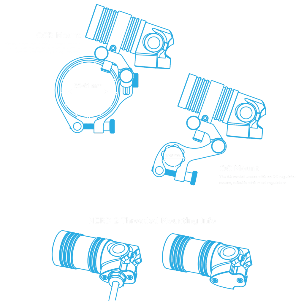 the nerd 2 is packaged with either a mount option for a closed circuit  rebreather or open circuit regulator